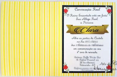 convite artesanal infantil aniversário filme a bela e a fera princesa menina amarelo azul e vermelho