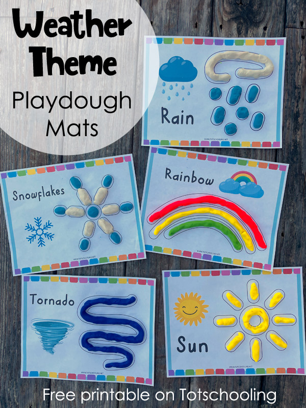 FREE printable weather theme playdough mats for preschool kids to practice weather, vocabulary, science and fine motor skills.