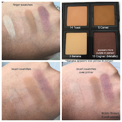 Bobbi Brown Eyeshadows in toast, banana, camel, and cognac swatched