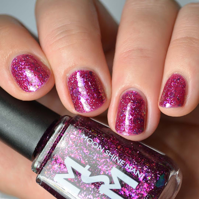 berry nail polish with flakies swatch