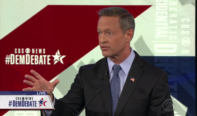 Martin O'Malley eyebrows CBS Democratic Debate face