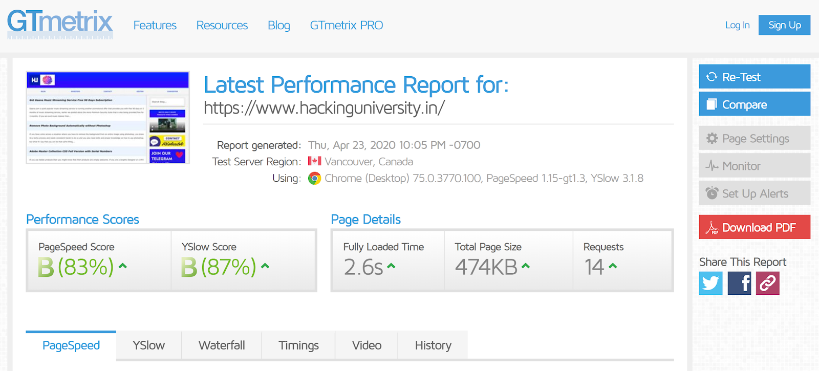 free online tools for testing websites performance
