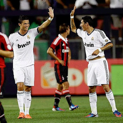 Cristiano and Di Maria celebrate a goal against Milan