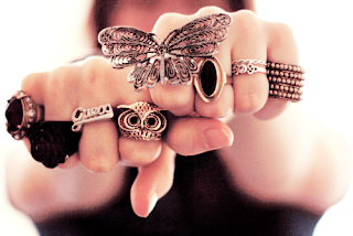 owl and butterfly double rings