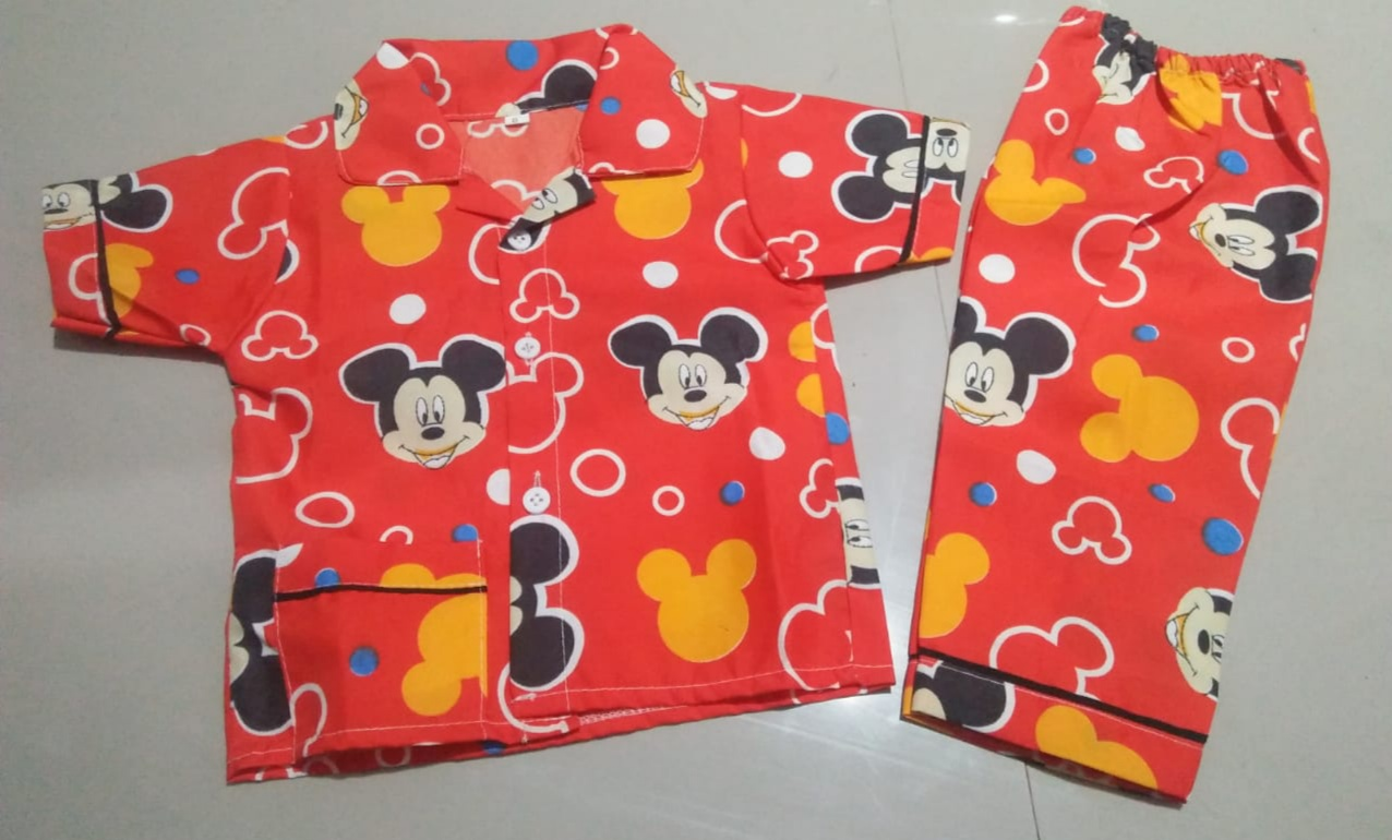 Piyama Anak Umur 1 Tahun Gambar Mickey Mouse Merah