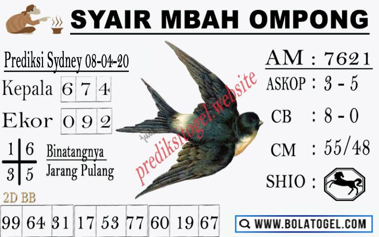 Prediksi Togel Sidney Rabu 08 April 2020 - Syair Mbah Ompong Sidney