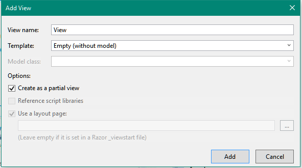 Partial Views in ASP.NET MVC5