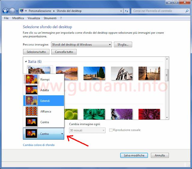 Opzione seleziona sfondo del desktop di Windows 7 da Pannello di controllo