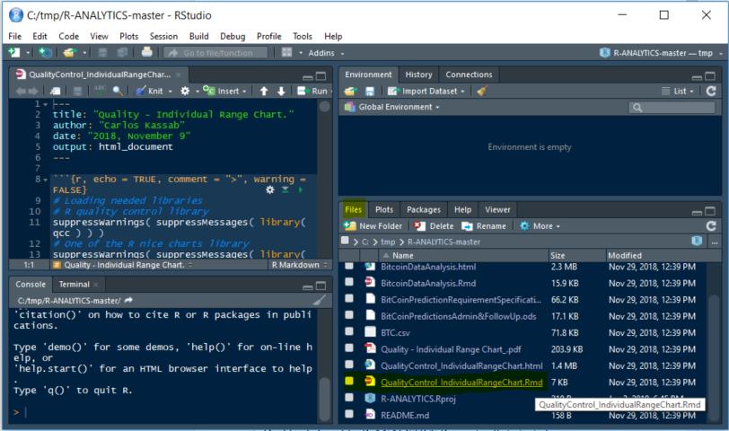 """Displaying our""""R–质量控制单个范围图表制作精美""""在一个使用Ajax的Java Web应用程序中。"""