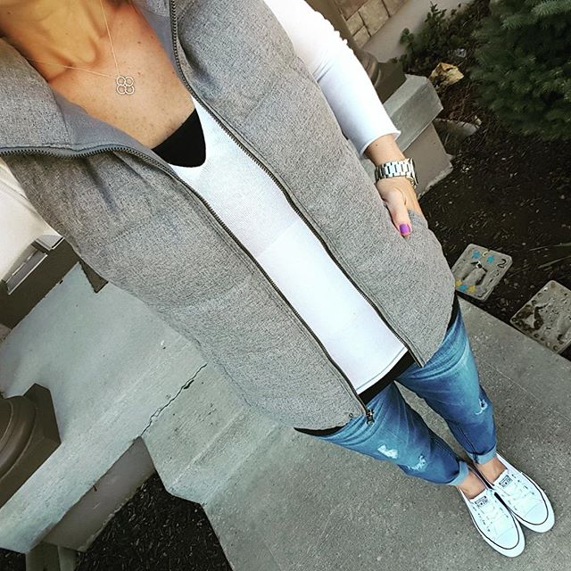 Old Navy Vest (sold out - similar) // Banana Republic Factory Sweater (similar) // Mossimo Tank // Jolt The Drifter Boyfriend Jeans - love, love, love and on sale for under $30!!! // Converse Tennis Shoes // Michael Kors Runway Watch - on sale!