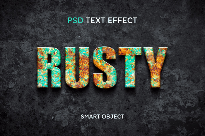 Rusty Text Style Effect Mockup Psd Template