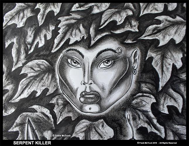 Frank McTruck ink and ink wash artwork - 'Serpent Killer'