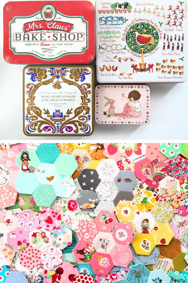 Sewing tins and English Paper piecing by Ange from A Little Patchwork #englishpaperpiecing