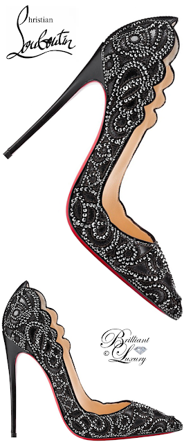 Brilliant Luxury ♦ Christian Louboutin Top Vague Scalloped Crystal Red Sole Pump #black