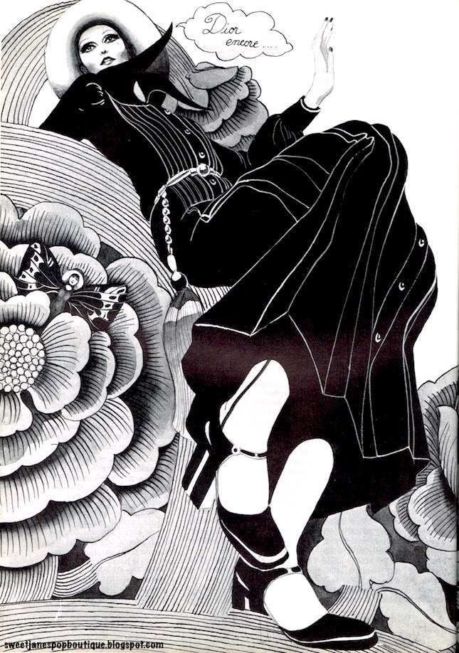 DIOR FASHION ILLUSTRATION 1970