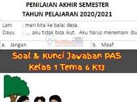 Soal UAS/PAS Kelas 1 Tema 6 Sub Tema 1, 2, 3, 4 dan Kunci Jawaban