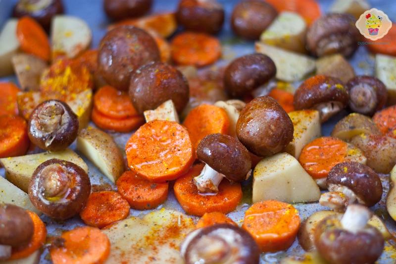 Pieczone warzywa z pieczarkami