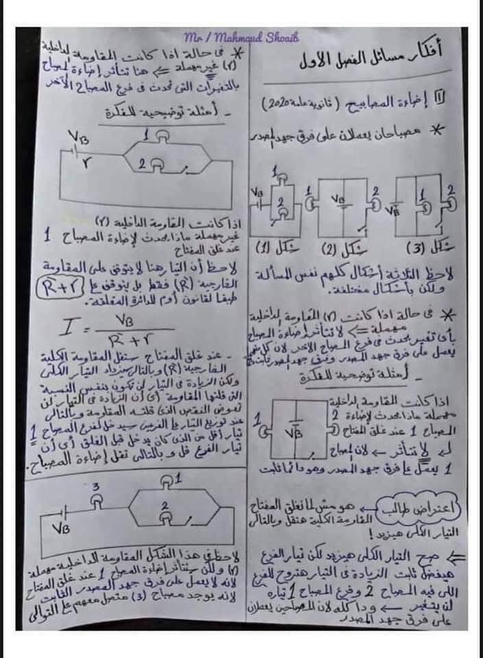 جميع أفكار مسائل الفصل الأول في الفيزياء للثانوية العامة - مهمة جداً 7