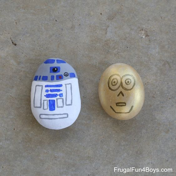 R2D2 and C3PO painted rocks