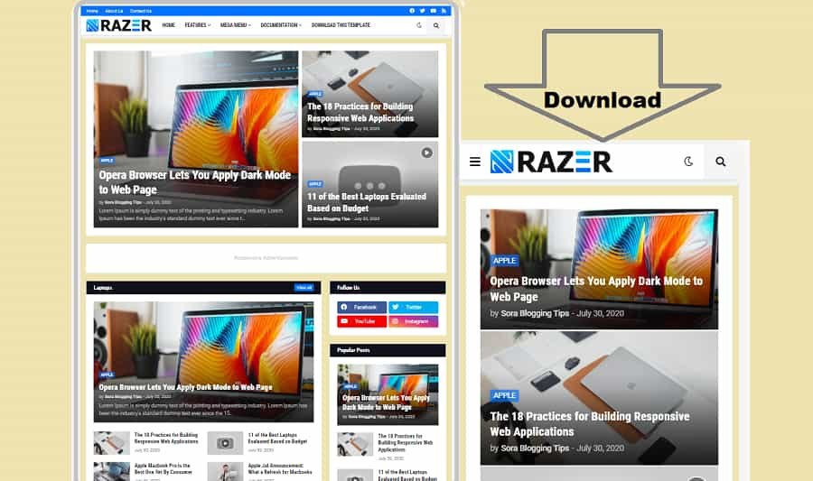 Premium Razer Blogger Template Free Download
