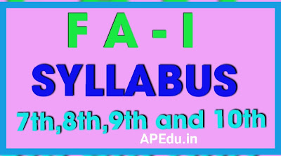 FA-1 (Formative 1) 7th,8th,9th and 10th Class Slip Test in EM & TM 2020-21 Syllabus.
