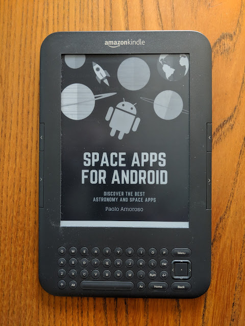The cover of the Space Apps for Android book on a Kindle 3 ebook reading device.
