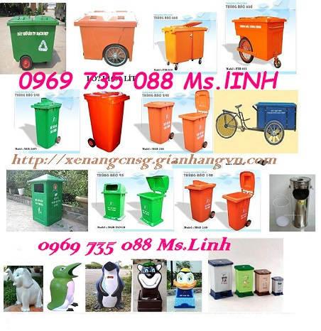 0969735088 Bán thùng rác nhựa 240l, 120l, xe rác 660l-1100l giá rẻ TP HCM