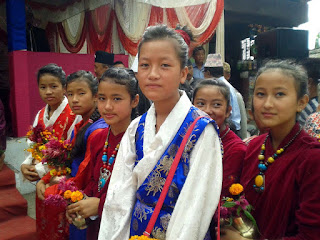 Girls in traditional dress in Fulpati
