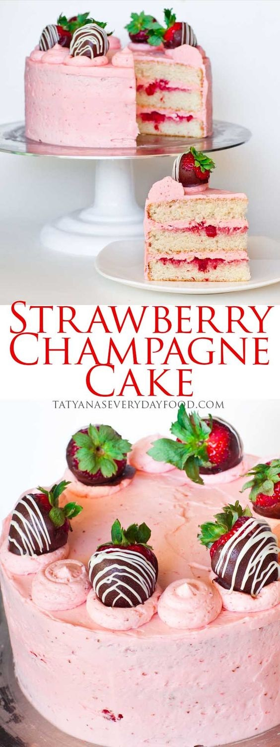 Strawberry Champagne Cake