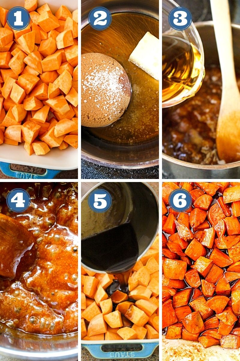 Collage of images of Candied Sweet Potatoes with Marshmallows being made.