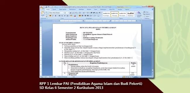 RPP K13 PAI SD Kelas 6 Semester 2 Format 1 Lembar