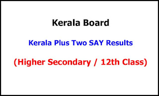 Kerala Plus Two SAY Exam Results 2021