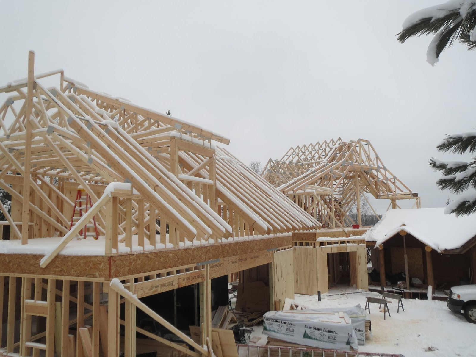Huismanconcepts roof trusses custom lake home for Custom roof trusses