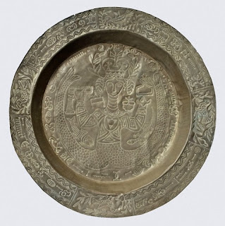 Circular brass tray  with mermaid design