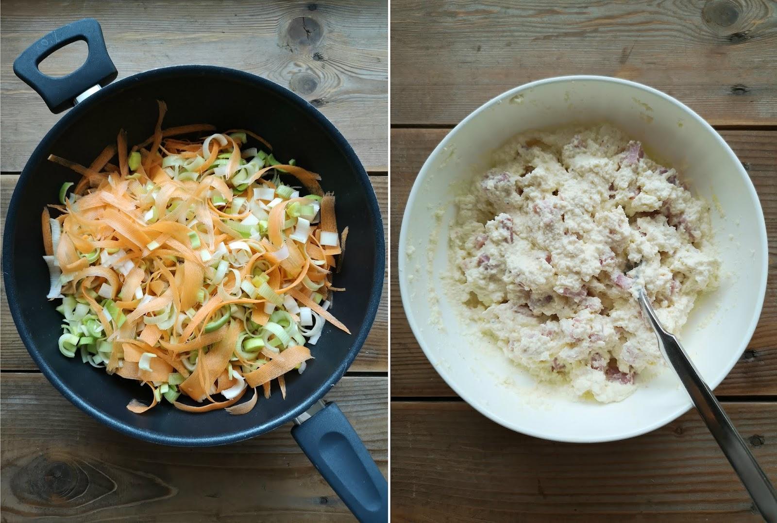 torta salata ai porri carote prosciutto e ricotta