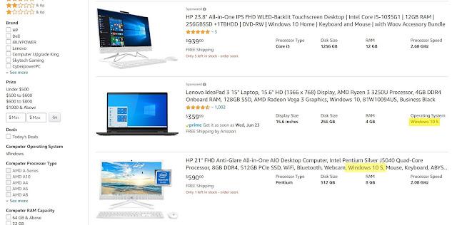 Retail desktop PC ads on Amazon