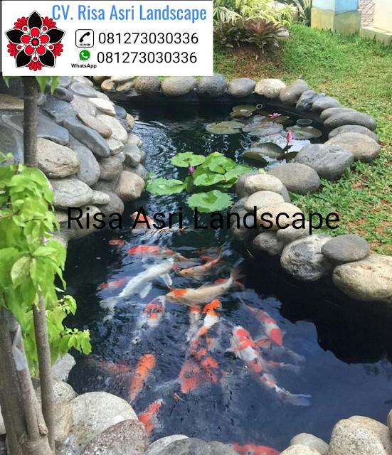 CV. RISA ASRI LANDSCAPE gambar kolam hias minimalis ikan koi water wall air terjun