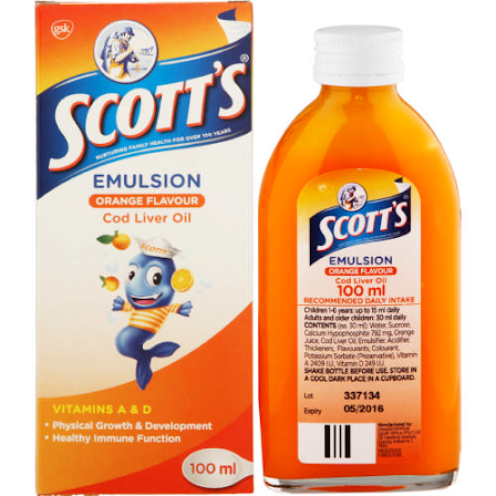 Scott's® emulsion contains Cod Liver Oil which supplements vitamins A, Vitamin D and Omega 3 fatty acids; Docosahexaenoic acid (DHA) and Eicosapentaenoic acid (EPA).