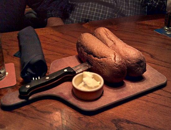 Brown bread on a steak knife