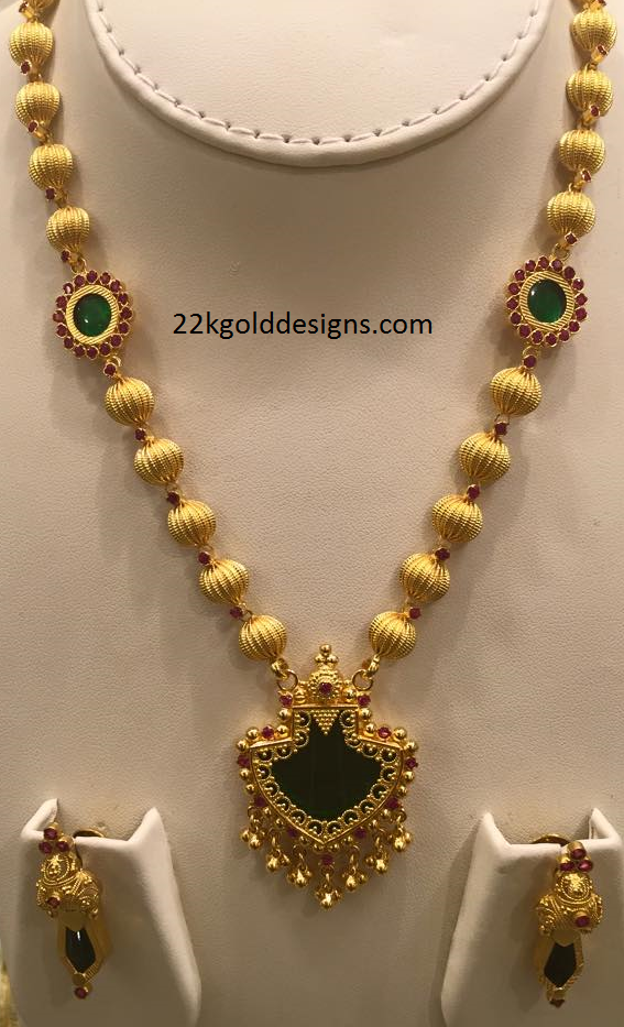 Latest Style Palakka Necklace - 22kGoldDesigns