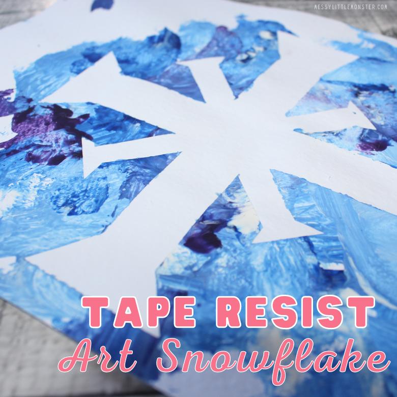 Tape resist art. snowflake art