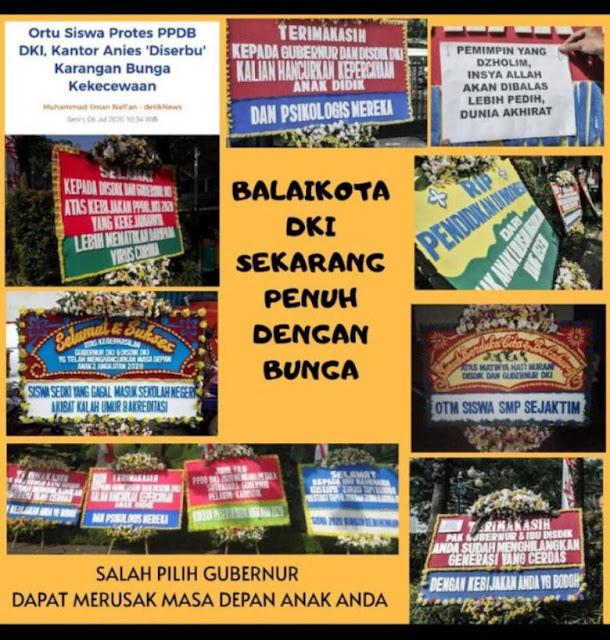 Gubernur DKI Penuh Karangan Bunga Orang Tua Siswa Yang Geram Keputusan Anis