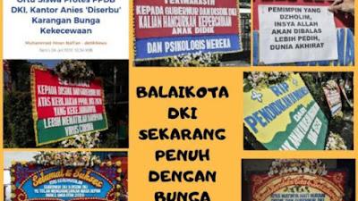 Kantor Gubernur DKI Penuh Karangan Bunga Orang Tua Siswa Yang Geram Keputusan Anis
