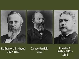 Rutherford B. Hayes, James Garfield, dan Chester A. Arthur