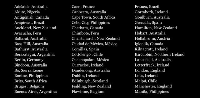 聖職者による性的虐待が起きた他の国々の都市