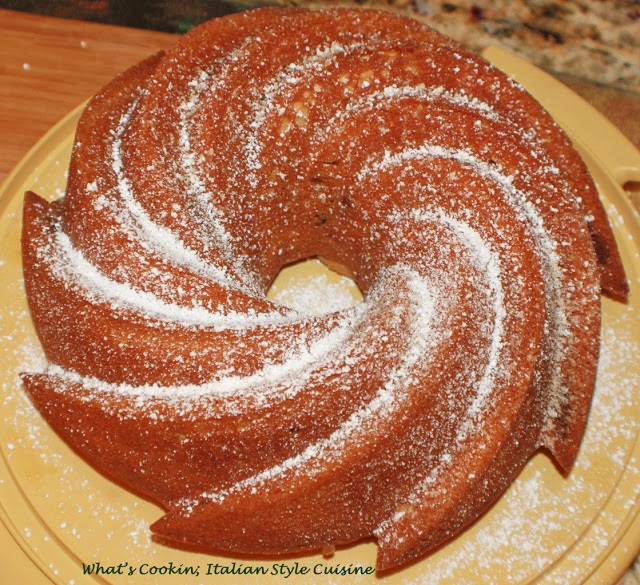a swirled bundt cake made with a cake mix and bananas