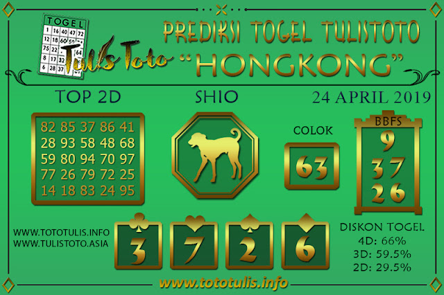 Prediksi Togel HONGKONG TULISTOTO 24 APRIL 2019