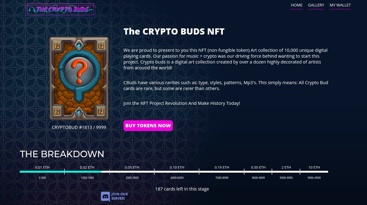 'Crypto Buds' Sells Over 1800 NFTs in One Week