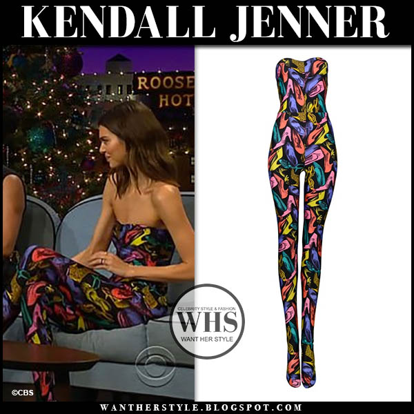 Kendall Jenner in multicolor shoe print ferragamo jumpsuit on The Late Late Show