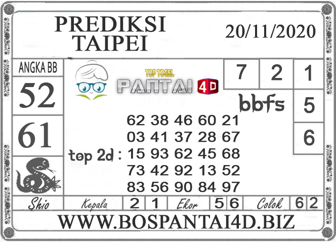 PREDIKSI TOGEL TAIPEI PANTAI4D 20 NOVEMBER 2020